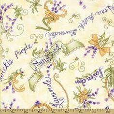 Lavender Fields Cotton Fabric - Script - Cream (1 yd) -- for lavender sachets