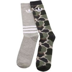 Adidas Originals Men 2 Pairs Of Camo & Trefoil Socks ($18) ❤ liked on Polyvore featuring men's fashion, men's clothing, men's socks, mens socks, mens camo socks and mens camouflage socks