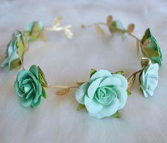 EVA GODDESS CROWN, gold flower crown, emerald flower headband, baby girl crown, baby bow