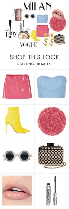 """""""VOGUE"""" by zoeevans8 ❤ liked on Polyvore featuring Miu Miu, Julien David, Christian Louboutin, Chanel, Tevolio, Bare Escentuals, Major Moonshine and Yves Saint Laurent"""
