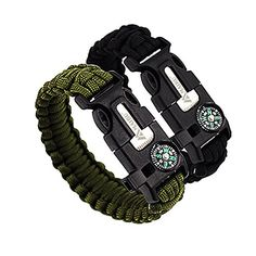 Camping Emergency Fire Starters - MAIBU Multifunctional Paracord Bracelet Survival Gear Kit with Embedded Compass Fire Starter Emergency Knife  Whistle  Quick Release Slim Buckle Design Hiking Gear2 PC >>> Click image to review more details.
