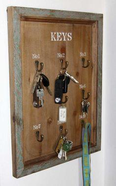 Schlüsselbrett Keys 9 Haken Landhaus Holz Shabby Chic antik braun – Bild 2