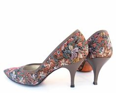 Vintage 1950s Shoes Floral Tapestry Fabric by mysweetiepiepie.  I had some shoes much like these but they were more turquoise.