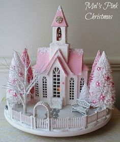 A pink and white Christmas glitter church snow scene/ putz houses Shabby Chic Christmas, Pink Christmas, All Things Christmas, Christmas Home, Vintage Christmas, Xmas, Victorian Christmas, Christmas Village Houses, Craft Rooms