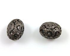 Genuine Diamond Oval Pave Bead  1 Piece 12x16 mm  by Beadspoint