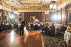 Amazing gold wedding dance floor! See more from this regal gold wedding in Nashville by @brownlabphoto at The Hermitage Hotel! | The Pink Bride www.thepinkbride.com