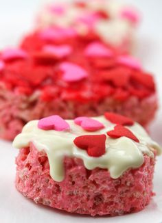 Not only a good way to use the 4 boxes of Rice Krispies I have but a Valentine's treat Lena will love to make