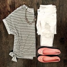 Flat Lays of the Week | side knotted gray striped tee. White distressed jeans. Pink Tory burch Minnie travel flats