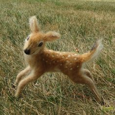 Needle Felted Deer Fawn, White Tailed, by Claudia Marie of Illinois, United States.