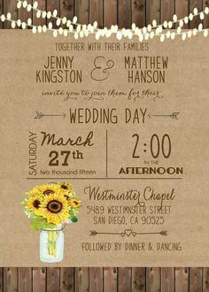 a634f7003862 Sunflower Wedding Invitation Mason Jar Rustic Sunflower Printable Wedding  Digital File Country Barn Wood Hanging Lights 21