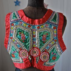 Czech Moravian Antique Exquisitely Embroidered Folk Costume Vest Red Green Floral Discs 1930's