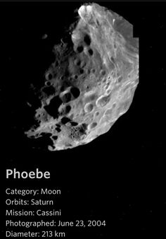 Learn about one of Saturn's moons, Phoebe. Nasa Planets, Planets And Moons, Space Solar System, Solar System Planets, Astronomy Facts, Space And Astronomy, Sistema Solar, The Stars My Destination, Moon Orbit