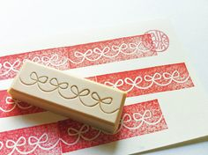 wash tape rubber stamp. ribbons. hand carved rubber stamp. pattern stamp. for packaging. card making.