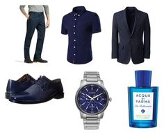 """""""Full Blue"""" by majstor1995 ❤ liked on Polyvore featuring Lucky Brand, Lands' End, Stacy Adams, Citizen, Acqua di Parma, men's fashion and menswear"""