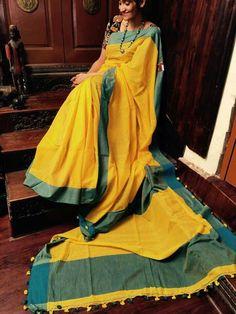 Pure 100 counts hndloom cotton  Price :2550+⛵  Wats app 7995736811 to order Yellow Saree, Handloom Saree, Cotton Saree, Traditional Dresses, Pink Yellow, Indian Fashion, Sarees, Ethnic, Goals
