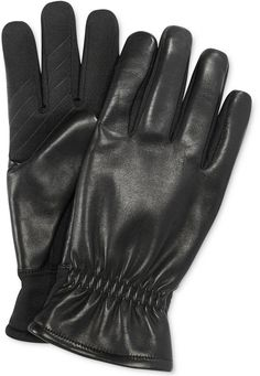 $68, Ur Gloves Gathered Leather Back Stretch Tech Palm Gloves by Fownes. Sold by Macy's. Click for more info: http://lookastic.com/men/shop_items/135321/redirect