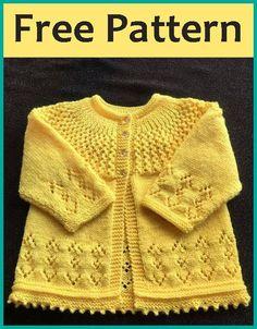 Rosabel Cardigan - Free Pattern Free Knitting Pattern Source by beautifulskills Baby Cardigan Knitting Pattern Free, Baby Sweater Patterns, Baby Boy Knitting, Knitted Baby Cardigan, Knit Baby Sweaters, Sweater Knitting Patterns, Knitting Designs, Knit Patterns, Free Knitting