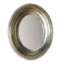 Helene Hammered German Silver Oval Mirror