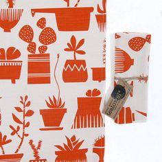 Tea towel Succulents in Terracotta by skinnylaminx on Etsy