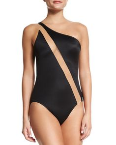 Norma Kamali One-Shoulder Swimsuit with Nude Insert, Black – One Piece Black One Piece Swimsuit, Women's One Piece Swimsuits, Women Swimsuits, Norma Kamali, Swimwear Fashion, Bikini Fashion, One Shoulder Swimsuit, Pullover Shirt, One Piece For Women