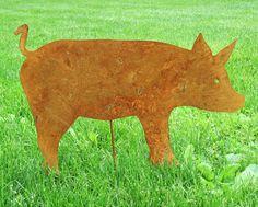 Pig Garden Stake / Garden Decor / Rustic Garden Art / Shadow / Cut Out / Metal / Silhouette / Ornament. $35.99, via Etsy.