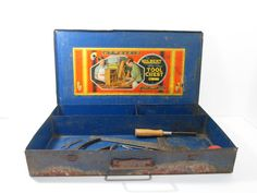 Blue Metal Tool Chest Gilbert Big Boy by GirlPickers on Etsy, $18.00