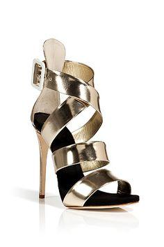 Platinum Leather Wafer Platform Sandals by Giuseppe Zanotti