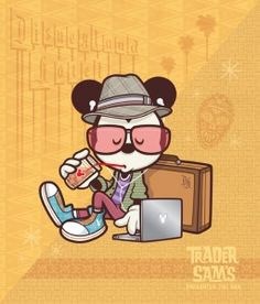 NEW Hipster Mickey Hanging at Sam's to debut October 19th at WonderGround Gallery in the Downtown Disney District at the Disneyland Resort. I'll be there from 2-4 PM Sat 10/19