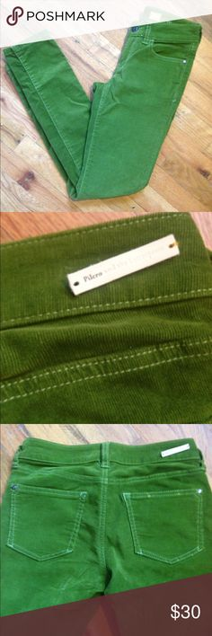Anthropologie Pilcro and the Letterpress cords 25 Great Pilcro and the Letterpress cords. Skinny leg with zippers. 4 pockets. Awesome green color. Back Pilcro tag is detached on one side-- easy fix. Anthropologie Pants Skinny