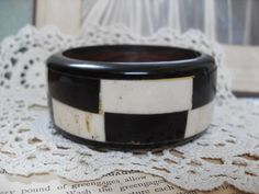 Vintage Black and White Horn and Bone Bangle Big by ChezPlatypus, $29.95