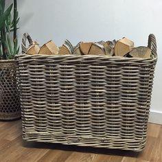 Large Wheeled Rattan Log Basket at the Farthing Fire Basket, Toy Basket, Rattan Basket, Large Stuffed Animals, Stuffed Animal Storage, Basket Shelves, Storage Baskets, Laundry Basket On Wheels, Wicker Shelf