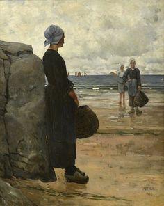 Osterinpoimijoita Bretagnen rannikoltaOyster pickers the coast of BrittanyAukusti Uotila oil 1880  Lauri ja Lasse Reitzin säätiö