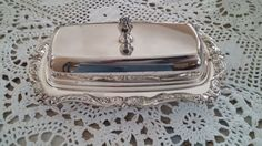 Lovely silver plate EPCA butter dish by Poole. Delicately decorated with pret  #dishes#tableware#service, kitchenware,plate,cup,glass,porcelain