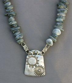 "Fine silver ""gear"" pendant on black jade - Jewelry by Mirinda Kossoff"
