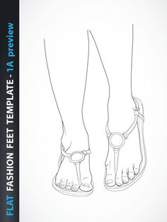 Flat Female feet template for fashion shoes.