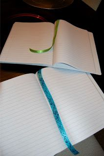 hot glue ribbon to back of journals for a very useful bookmark