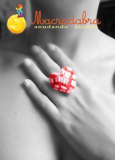Macradabra: Anillo Corazon en Rosa #Macrame