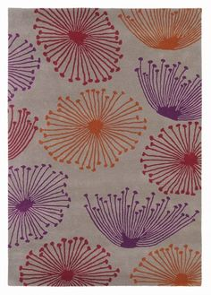 Dandelion Taupe Claret Medium Rug (45800) - Sanderson Rugs - A rug with the popular Dandelion Clocks design, shown here in orange, damson, red and taupe. This is a hand tufted, 100% new wool rug. Available in 3 sizes.