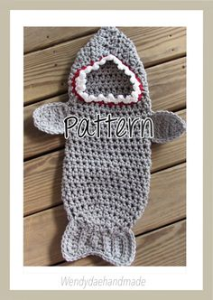 Available now is the PATTERN for my super cute and snugly shark attack cocoon crochet for your baby out of chunky yarn. This cocoon is perfect for newborn photos and for right out of baths to keep your baby warm for his night time snuggle and snack! This little cocoon measures approximately 23 inches long from top of hood to bottom of cocoon and about 19 inches circumference. Please let me know if you have any questions. If you would like the finished product and not the pattern check out…
