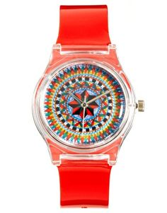 Enlarge MAY 28TH Kaleidoscope Watch Red Glossy Plastic Buckle    Image from ASOS.