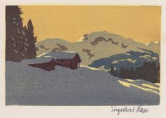 Mountain Chalets in Winter by Engelbert Lap, Circa Salon Style, Arts And Crafts Movement, Fashion Gallery, 21st Century, Printmaking, Mountain, Paris, Abstract, Winter
