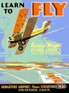 Learn to Fly Curtiss Flight School Stretched Canvas Print at Art.com