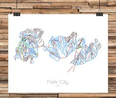 Park CIty Utah (With Canyons) - Modern Ski Trail Map - Line Drawing