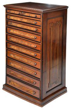 Victorian walnut file cabinet