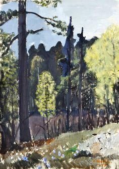 Otto Mäkilä (Finland 1904-1955)Forest Pond (1947)mixed media 41 x 29cm