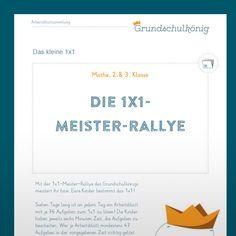 1x1_meister_rallye_titel Home Schooling, Boarding Pass, German, Teaching Math, School Routines, School Kids, Back To School, Deutsch, German Language