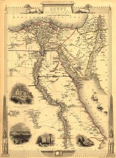 1851 Map Of Egypt With Engravings .