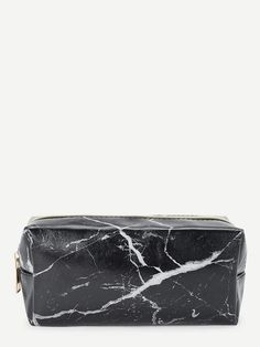 Black Marble Print Makeup Bag