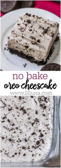 No Bake Oreo Cheesecake - a delicious no bake dessert filled with everyone's favorite cookie. It's so simple and delicious!