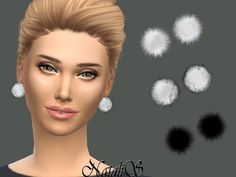 Sims 4 CC's - The Best: Fur ball stud earrings by NataliS
